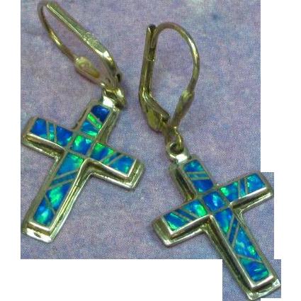Native American Indian Sterling Silver Cross Opal Inlay Pierced Dangle Earrings