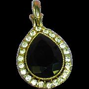 Rhinestones Large and Lovely Gold Tone Black Necklace Pendant