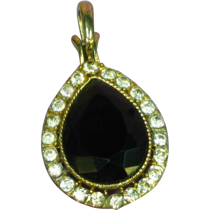 Rhinestones Large and Lovely Gold Tone Black Necklace Pendant