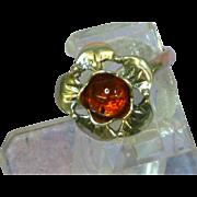 Amber Genuine Natural Vintage Sterling Silver Designer Signed Ring