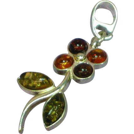 Amber Genuine Natural Multi Color Sterling Silver Flower Necklace Pendant