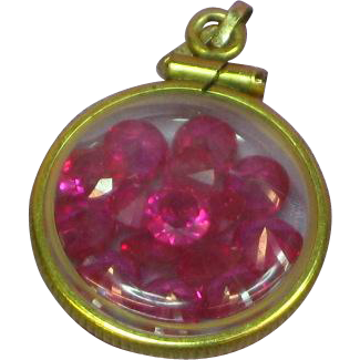 Gold Filled Crystal Rubies Locket Charm Fob Pendant
