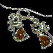 Amber Genuine Natural Dark Honey Sterling Silver Pierced Dangle Kitty Cat Feline Earrings