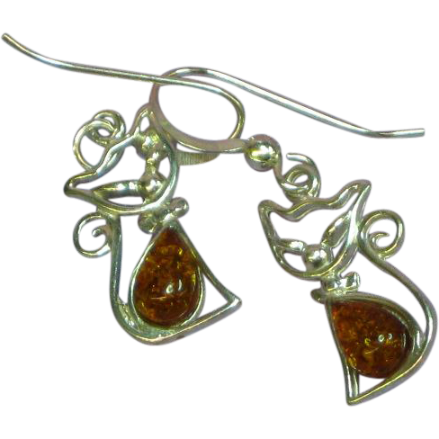 Amber Genuine Natural Dark Honey Sterling Silver Pierced Dangle Kitty Cat Feline Earrings