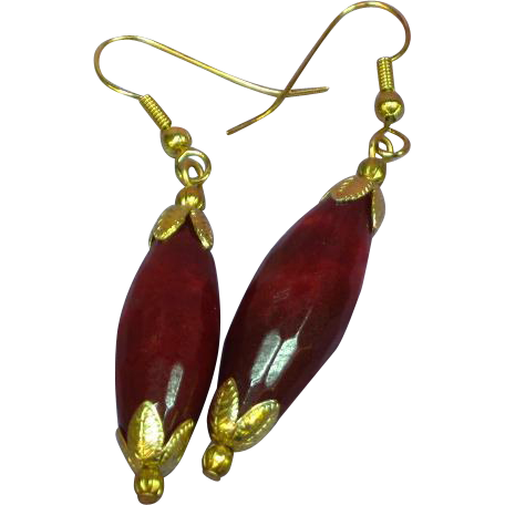 Gemstones Stunning Natural Brazilian Faceted Ruby Drop Pendant Pierced Earrings