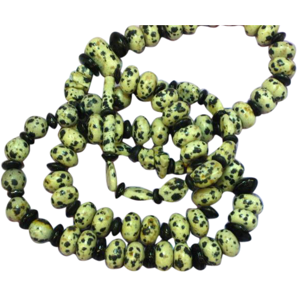 Gemstones Dalmatian Jasper & Onyx Bead Necklace