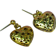 Hearts Galore Puffy Heart Dangle Romantic Pierced Earrings