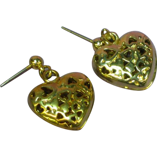 Hearts Galore Puffy Heart Dangle Romantic Pierced Earrings