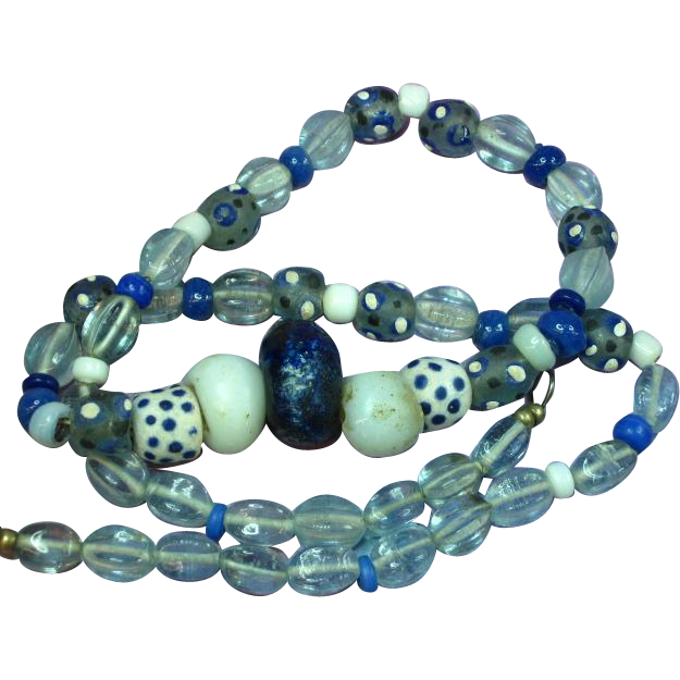 Antique African Trade Bead Blue Glass Beads  Necklace