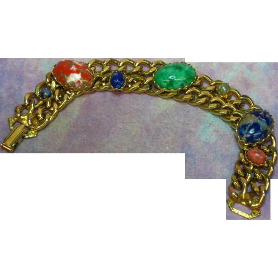Kafin Unsigned Beauty Art Glass Cabochon Designer Bracelet