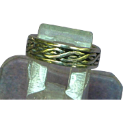 Sterling Silver Marked 925 Deco Embossed Cigar Band Vintage Unisex Ring