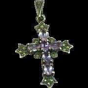 Sterling Silver Cross with Semi-Precious Genuine Amethyst & Marcasite Stones Pendant