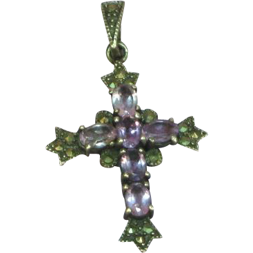 Sterling Silver Cross with Semi-Precious Genuine Amethyst & Marcasite Stones Pendant