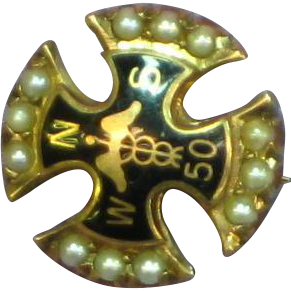 10K Gold  Seed Pearl Enamel Nurse Doctor Fraternity Pin