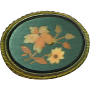 Exceptional Rare Antique Jet  Miniature Coral Mosaic Floral Pietra Dura Bouquet Brooch Pin