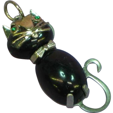 Sassy Cat Kitty Kitten with Bow Tie Black Glass Marked Necklace Pendant