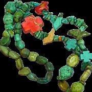 Native American Indian Single Strand Turquoise and Gemstone Fetish Skull Treasure Necklace