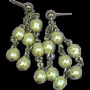 Baroque Glass Pearl Gorgeous Dangle Drop Pierced Earrings
