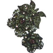 Amazing Purple Pink Rhinestones Japanned Articulated Flower Pin Brooch