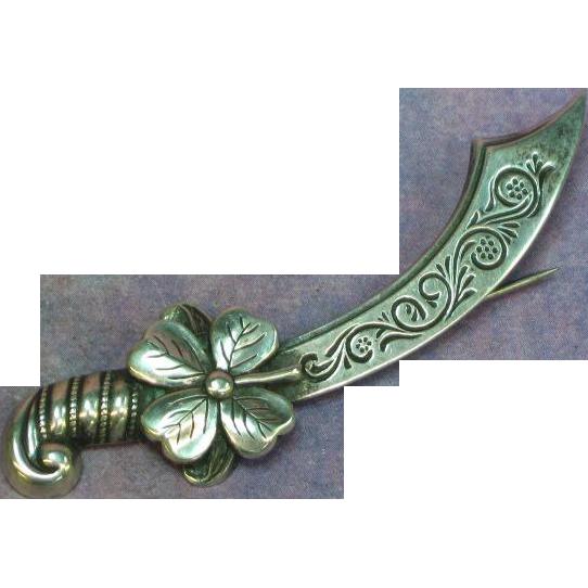 Lang Sterling Silver Sword Scimitar Shamrock Fine Vintage Pin Brooch