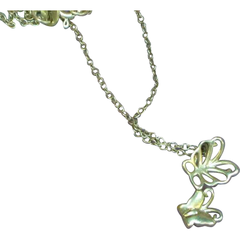 Sterling Silver Butterflies Pendant Necklace