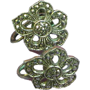 Sterling Silver 925 Marcasite Flower Floral Screw Back Earrings