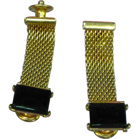 Gemstones Onyx and Gold Tone Mens Cuff links Snap on Cuff Protector Cuff Links