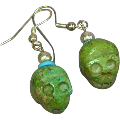 Native American Indian Carved Turquoise Fetish Skull Treasure Pierced Earrings