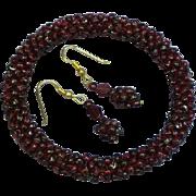Gemstones Genuine Arizona Garnet Woven Eternity Design Domed Bangle Bracelet with Pierced Earrings Demi Parure