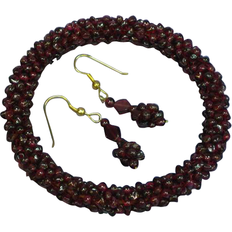 Gemstones Genuine Arizona Garnet Woven Eternity Design Domed Bangle Bracelet with Pierced Earrings Demi Parure