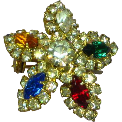 Dazzling Multi Colored Star or Snowflake Colorful Rhinestone Pin Brooch
