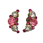 Weiss Pink Lavender Large Rhinestone Clip-on Earrings
