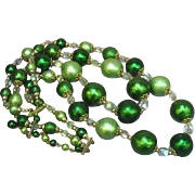 Japan Marked Beads Scrumptious!! Light and Dark Green Lightweight Beads Necklace