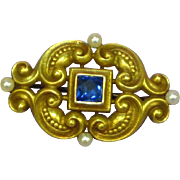 Gorgeous Art Nouveau 14k Gold Sapphire Seed Pearl Brooch c1910