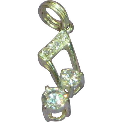 Sterling Silver Bright CZ Musical Note Charm or Pendant