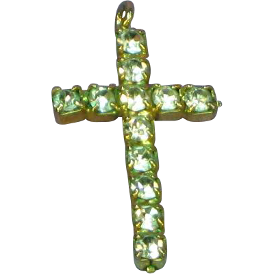 Rhinestone Clear in Gold Plate Cross Charm Pendant