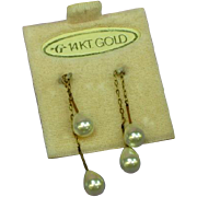 14k Yellow Gold Vintage Estate Cultured Pearl Drop Thread Through Pierced Earrings