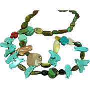 Native American Skulls Fetish Gemstone Turquoise Coral Necklace