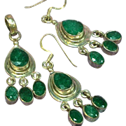 Balinese Sterling Silver Faceted Genuine Emerald Chandelier Dangle Earrings and Pendant Set Demi Parure