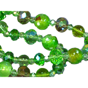 Stunning Vintage Green Faceted  Crystal Murano Graduated Bead Necklace