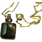 14K 585 European Rose Gold Dravite Tourmaline and Pink Tourmaline Pendant Necklace