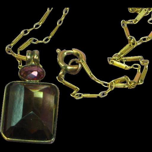 14K 585 European Rose Gold Dravite Tourmaline and Pink Tourmaline Pendant Necklace