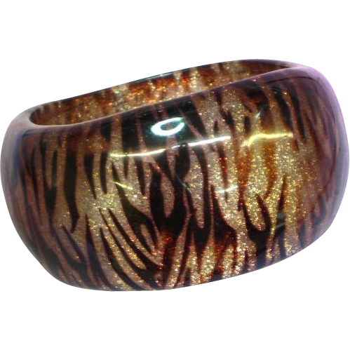 Genuine DuPont Lucite Transparent Tiger Striped and Glitter Bangle Bracelet