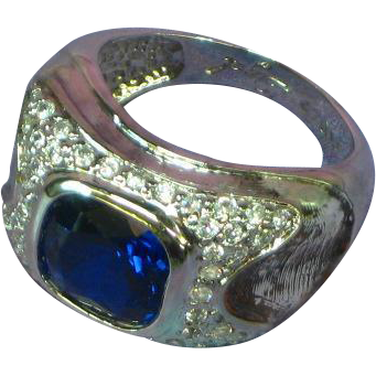 David Sigal Signed Designer  Sterling Silver Cushion Cut Sapphire CZ Large Ring