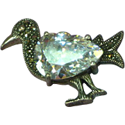 Sterling Silver Marcasite Bird Kiwi Critter Figural Pin Brooch