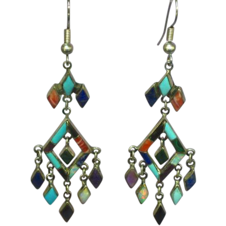 Native American Indian Zuni Inlay Sterling Silver Gemstones Opal Link Dangle Earrings Pierced Post Signed