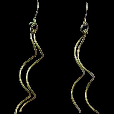 Fabulous Handmade Sterling Silver Long Dangle Pierced Earrings