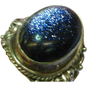 Sterling Silver Gorgeous Purple Blue Goldstone Large Ornate Ring