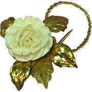 Hallmarked Cultra and 14K Gold Filled Pin With Carved White Flower Rose