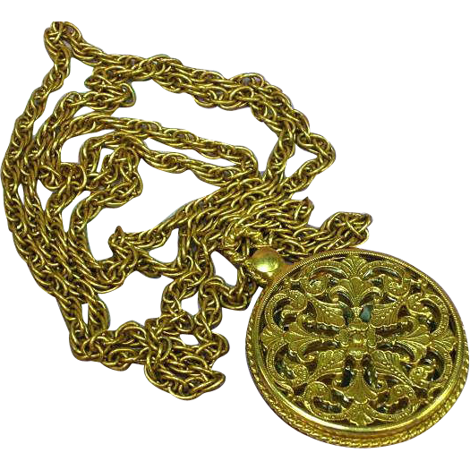 """Long Loose Lovely Gold Tone Chain Sautoir 36"""" Necklace with Mirror"""